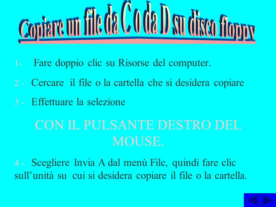Copiare un file da C o da D su disco floppy