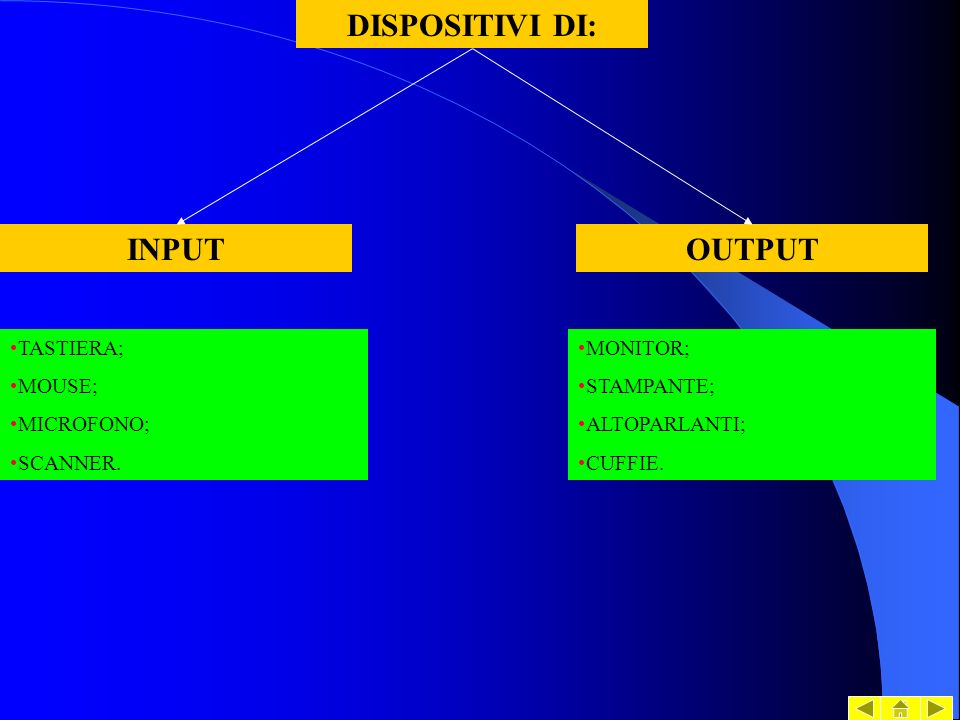 DISPOSITIVI DI: INPUT OUTPUT