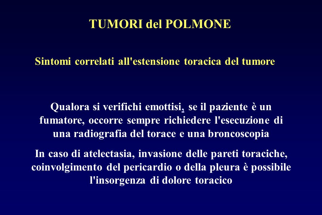 Sintomi correlati all estensione toracica del tumore