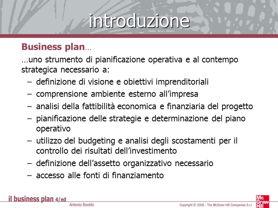 introduzione Business plan…