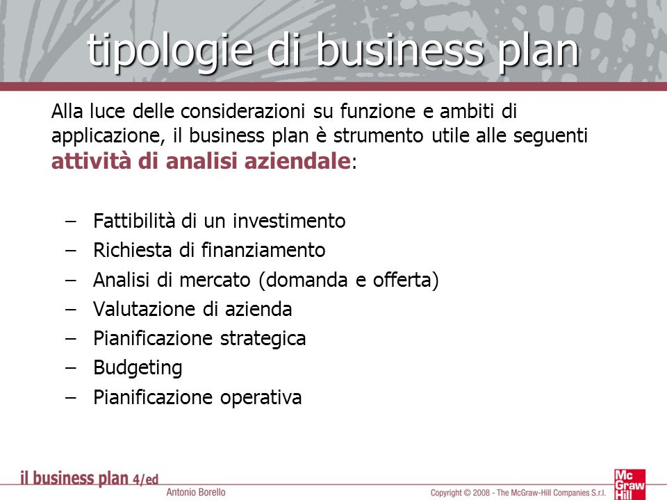 tipologie di business plan