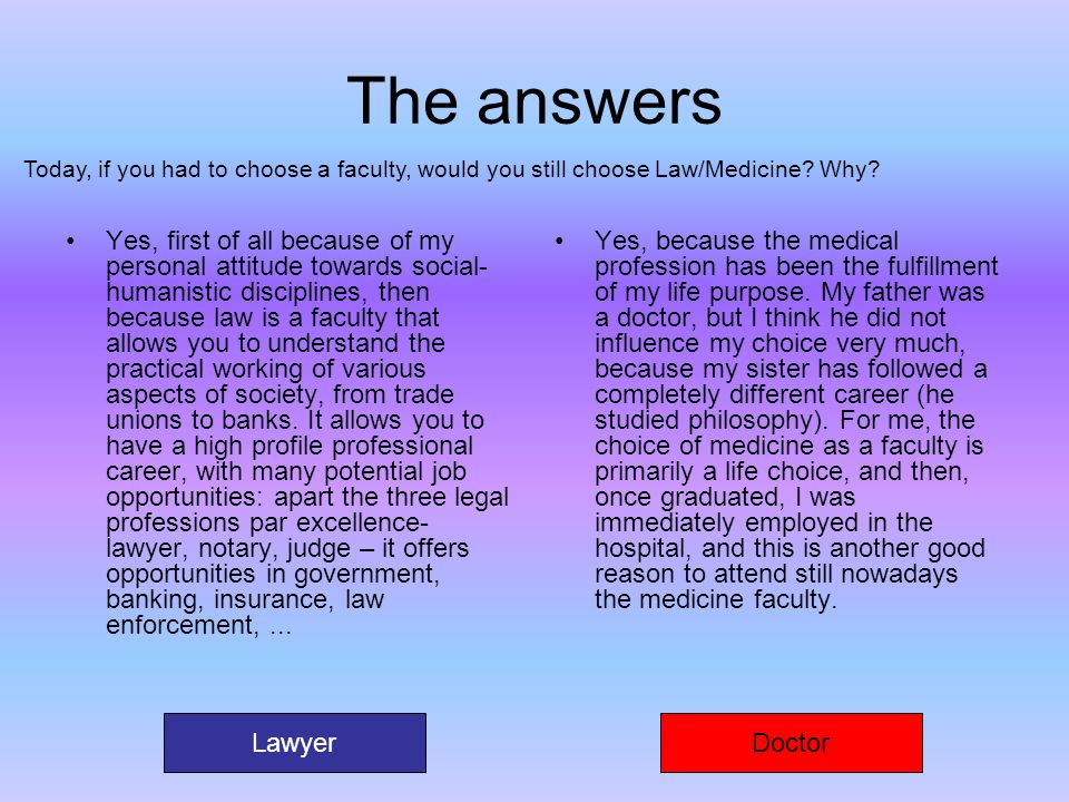 The answers Today, if you had to choose a faculty, would you still choose Law/Medicine Why
