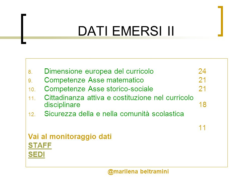 DATI EMERSI II Dimensione europea del curricolo 24