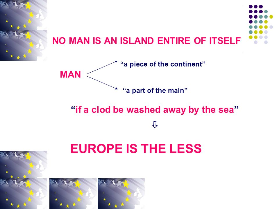 NO MAN IS AN ISLAND ENTIRE OF ITSELF