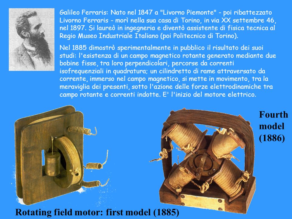 Rotating field motor: first model (1885)