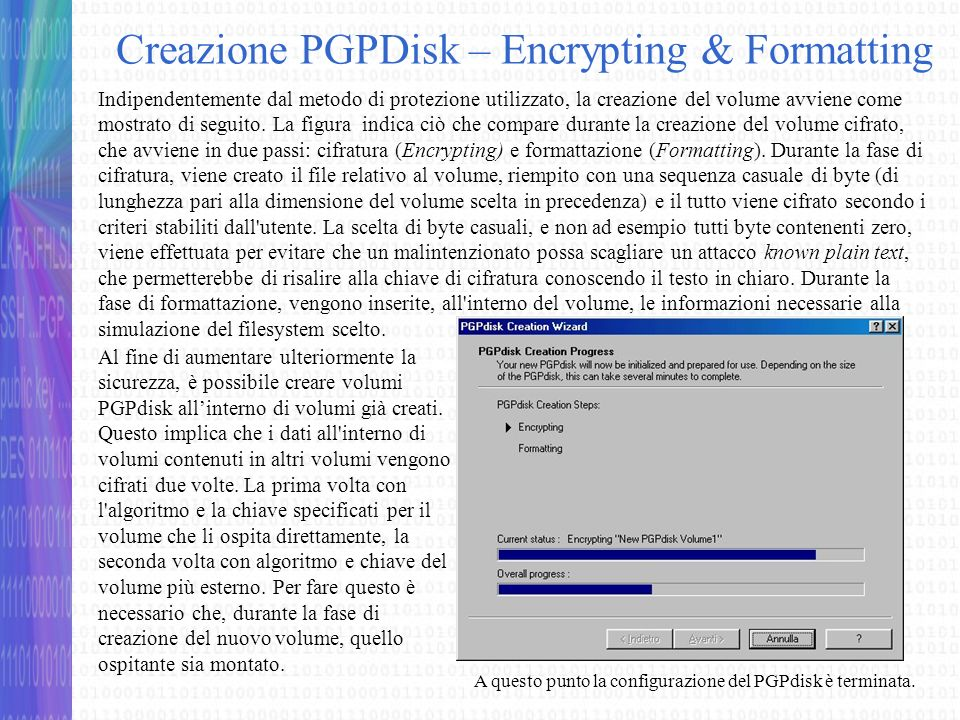 Creazione PGPDisk – Encrypting & Formatting