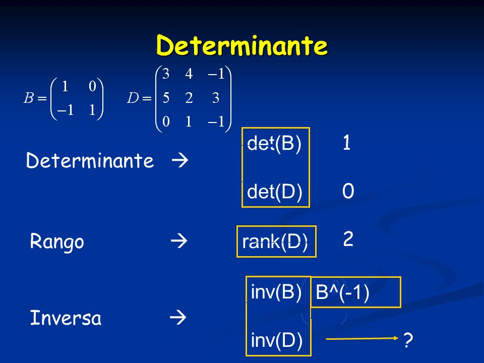 Determinante det(B) 1 Determinante  det(D) 2 Rango  rank(D) inv(B)