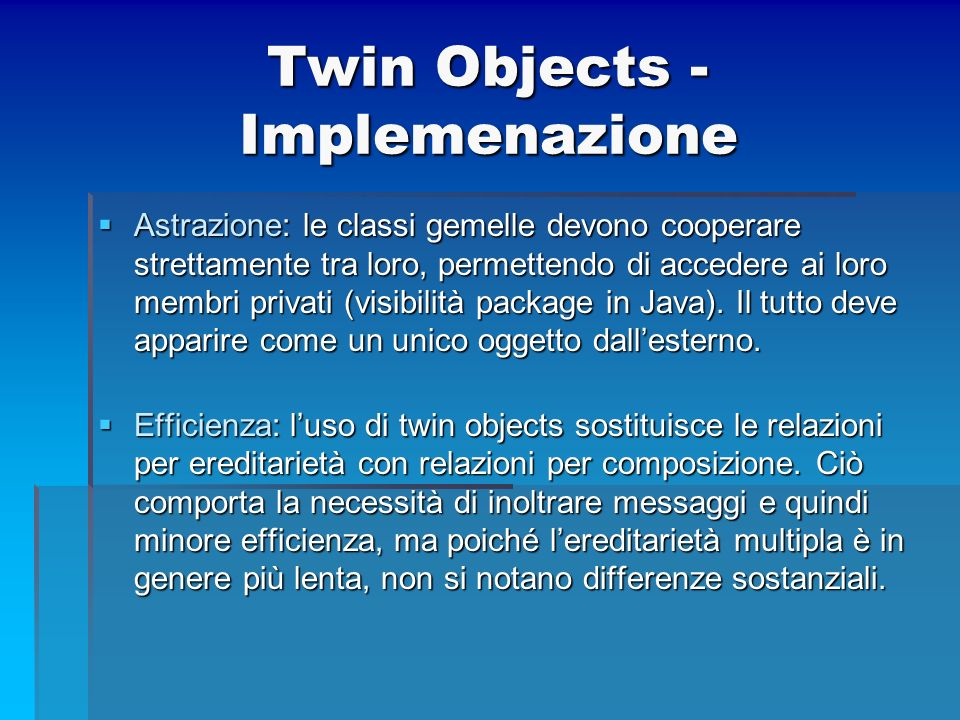 Twin Objects - Implemenazione