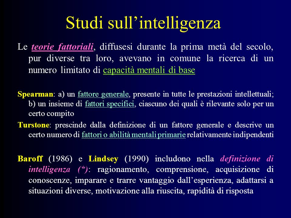 Studi sull'intelligenza
