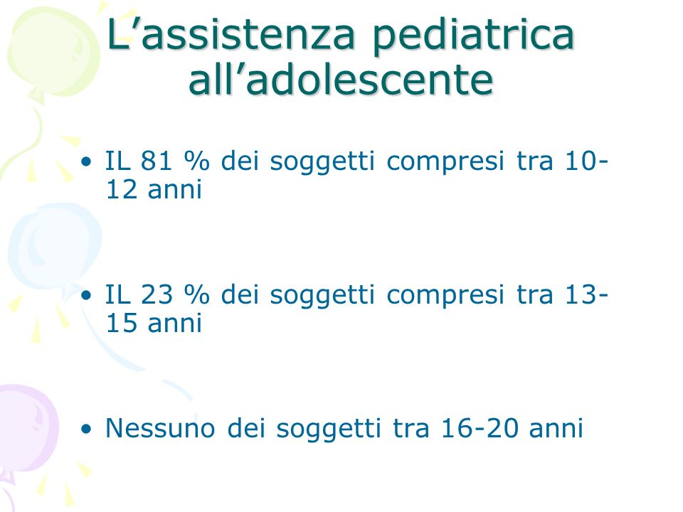 L'assistenza pediatrica all'adolescente