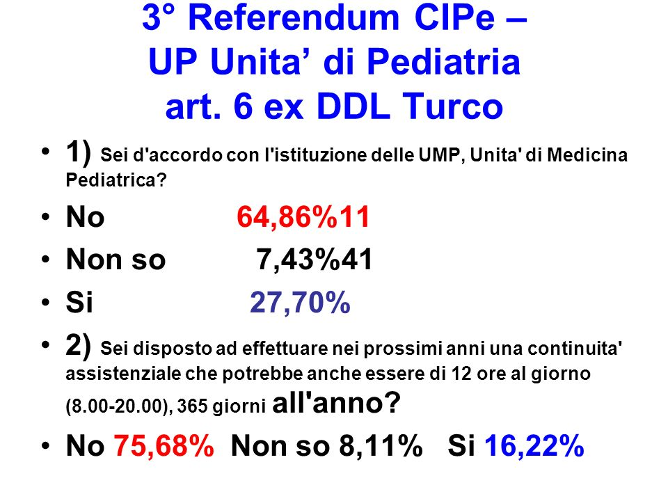 3° Referendum CIPe – UP Unita' di Pediatria art. 6 ex DDL Turco