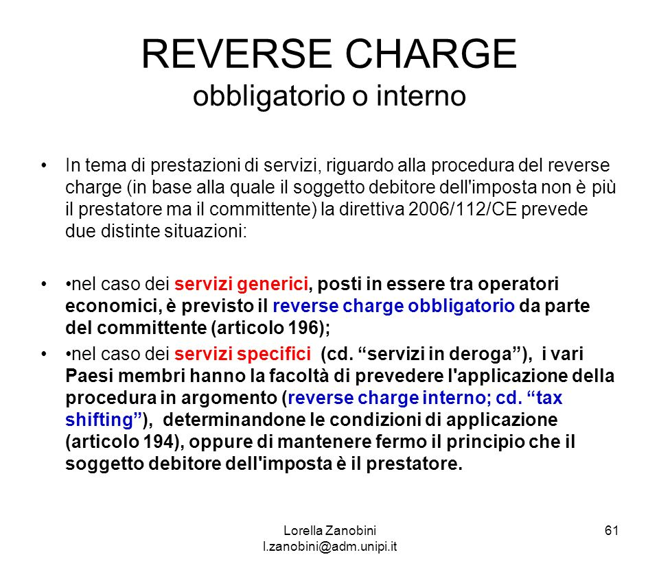 REVERSE CHARGE obbligatorio o interno