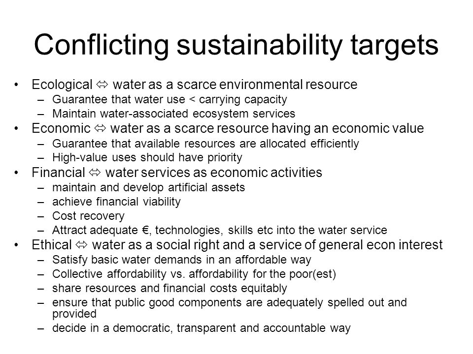 Conflicting sustainability targets