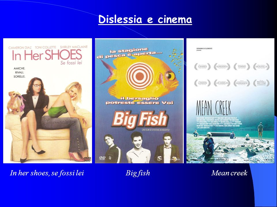 Dislessia e cinema In her shoes, se fossi lei Big fish Mean creek