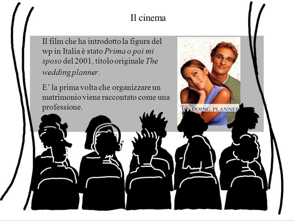 Il cinema Il film che ha introdotto la figura del wp in Italia è stato Prima o poi mi sposo del 2001, titolo originale The wedding planner.