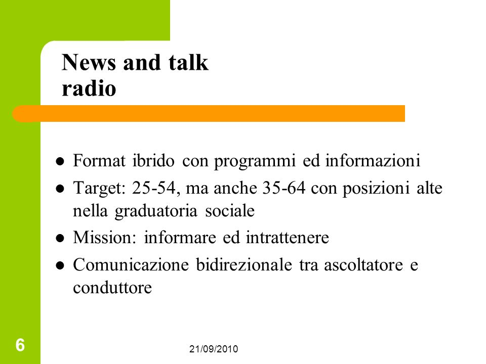 News and talk radio Format ibrido con programmi ed informazioni