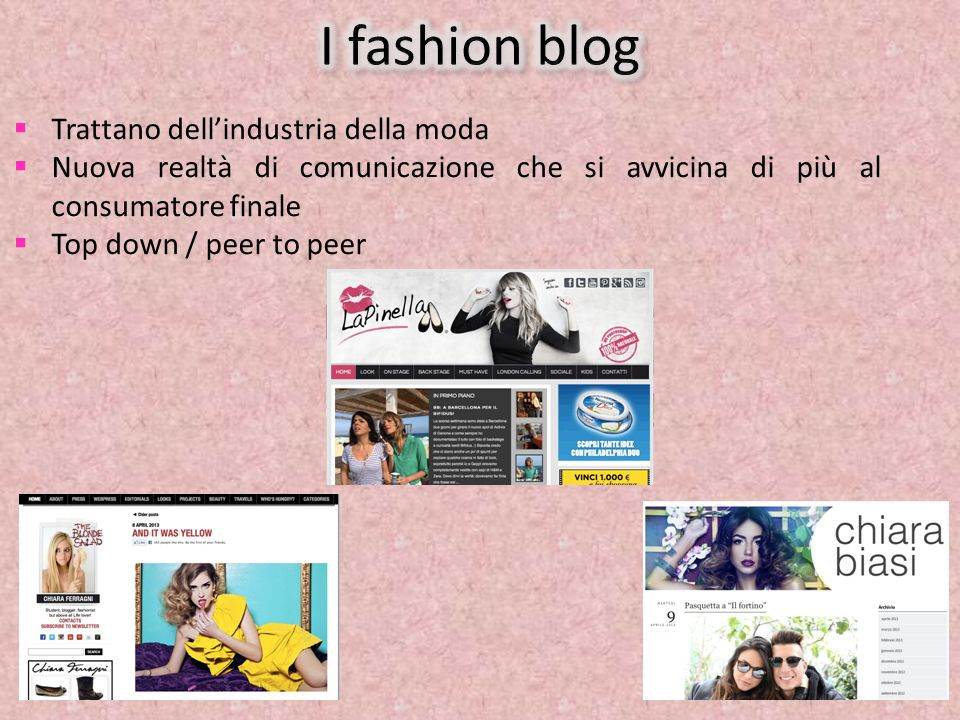 I fashion blog Trattano dell'industria della moda