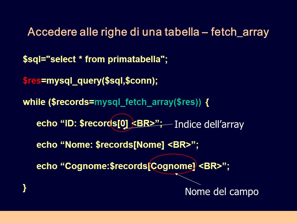 Accedere alle righe di una tabella – fetch_array