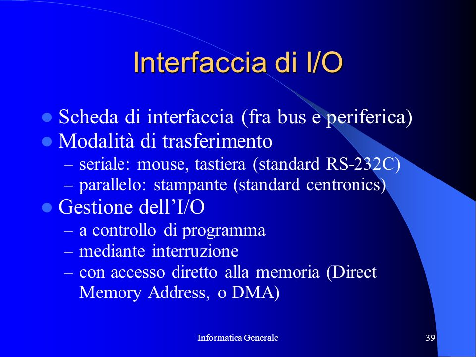 Interfaccia di I/O Scheda di interfaccia (fra bus e periferica)