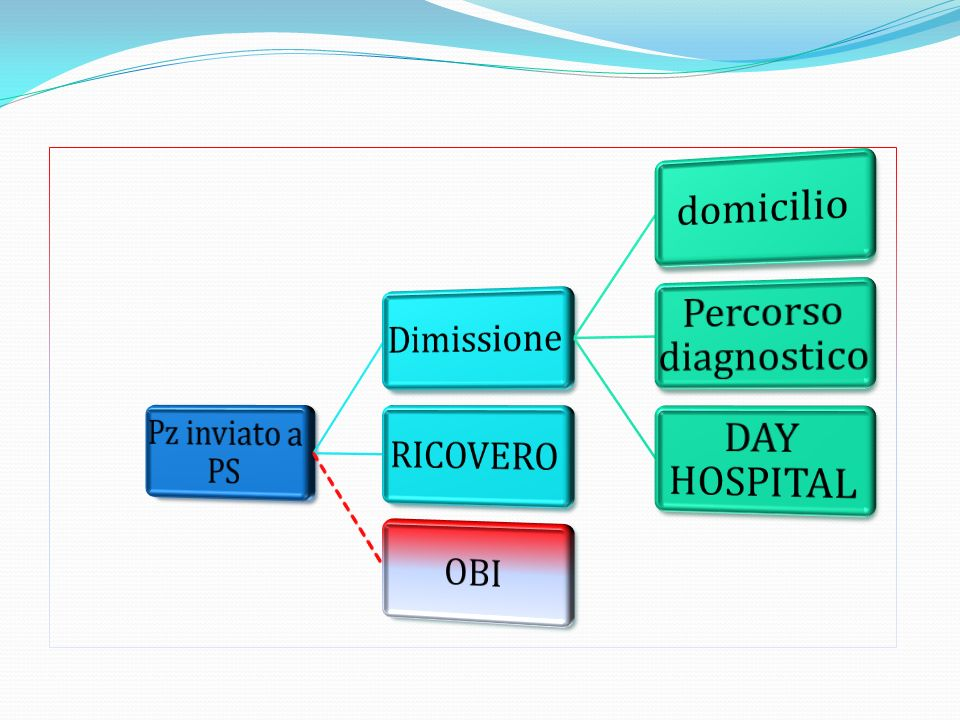 Pz inviato a PS Dimissione domicilio Percorso diagnostico DAY HOSPITAL RICOVERO OBI