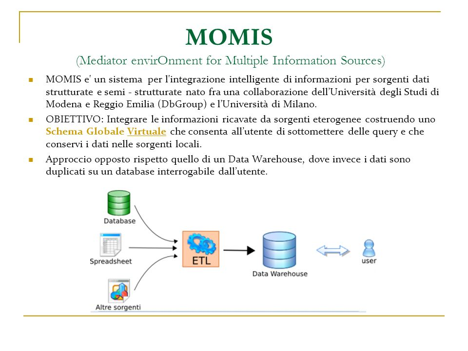MOMIS (Mediator envirOnment for Multiple Information Sources)