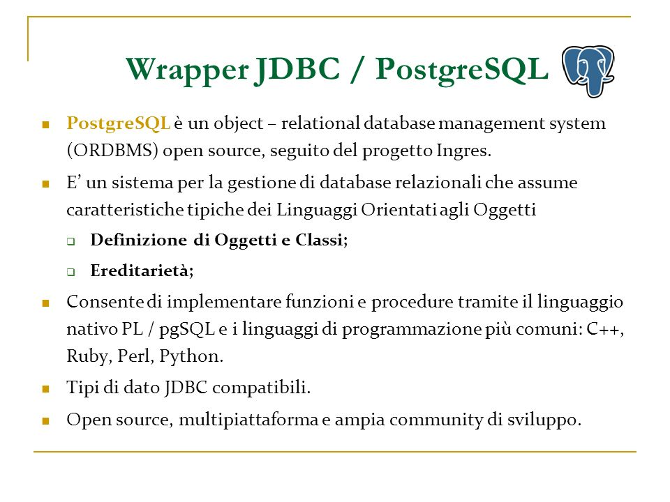 Wrapper JDBC / PostgreSQL