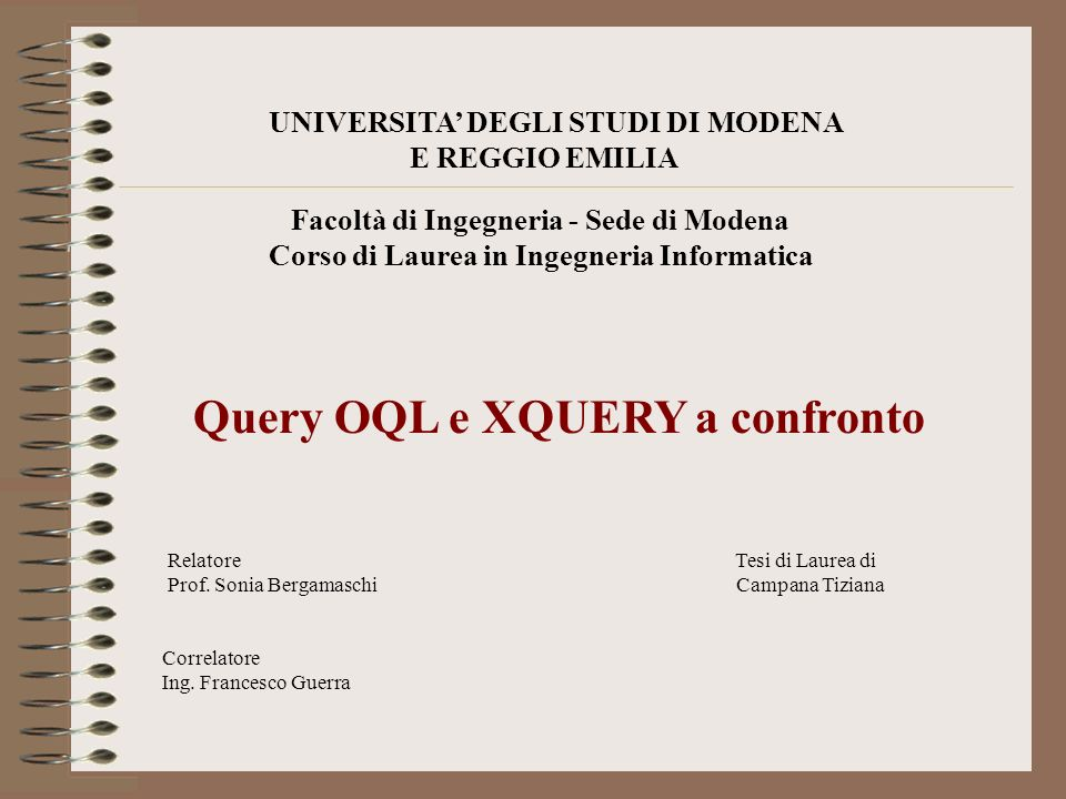 Query OQL e XQUERY a confronto