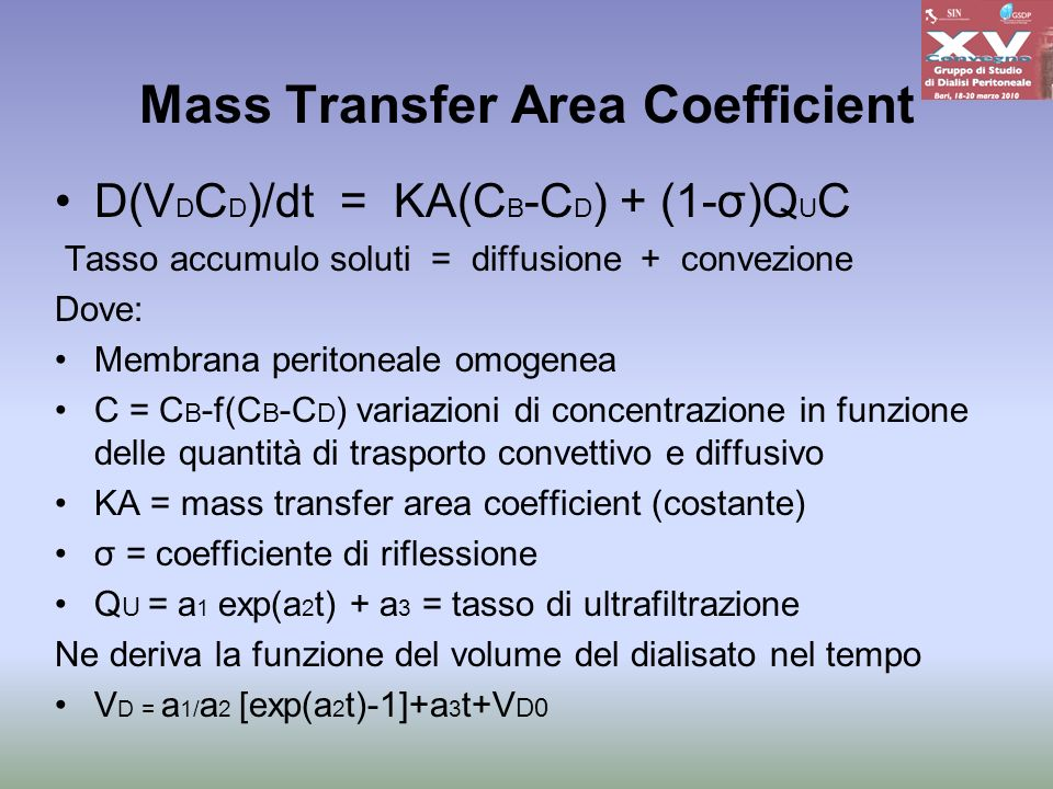 Mass Transfer Area Coefficient