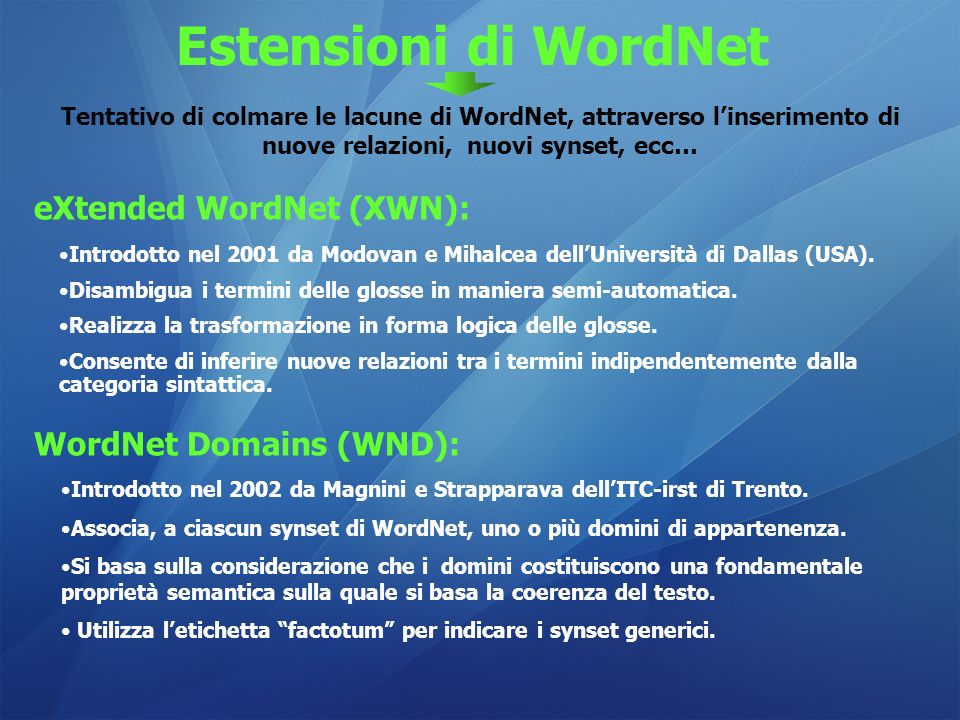 Estensioni di WordNet eXtended WordNet (XWN): WordNet Domains (WND):