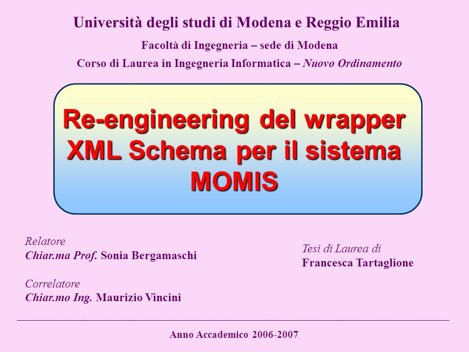 Re-engineering del wrapper XML Schema per il sistema MOMIS