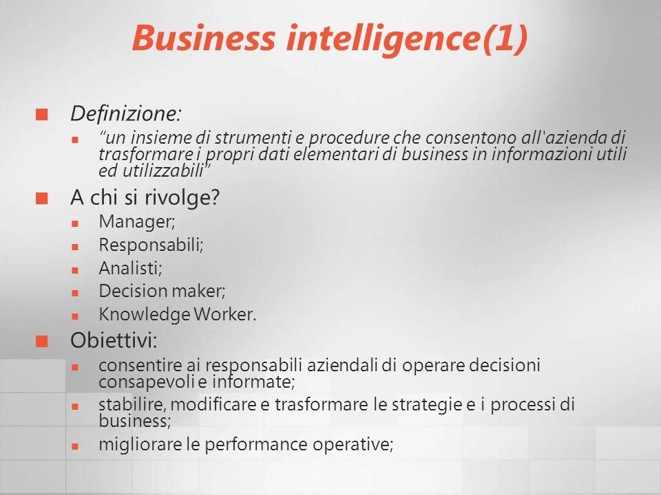 Business intelligence(1)