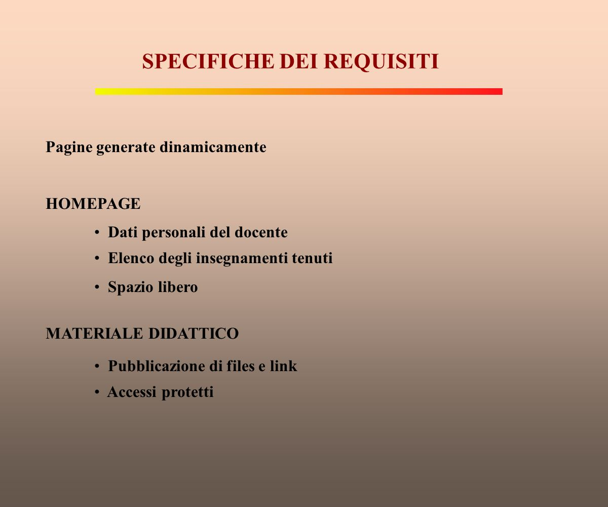SPECIFICHE DEI REQUISITI