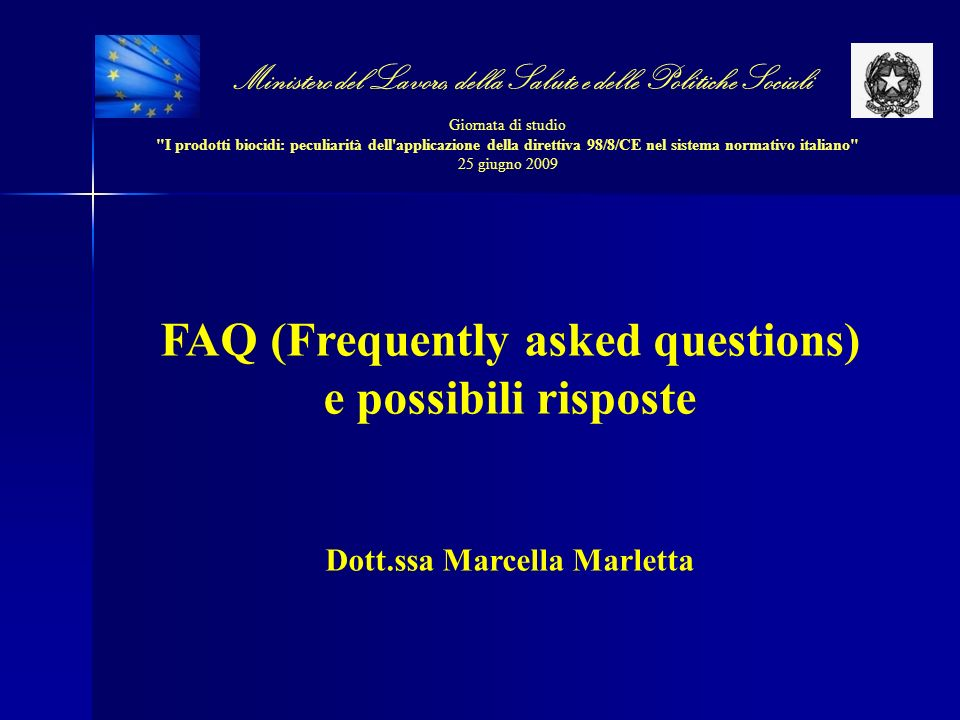FAQ (Frequently asked questions) e possibili risposte