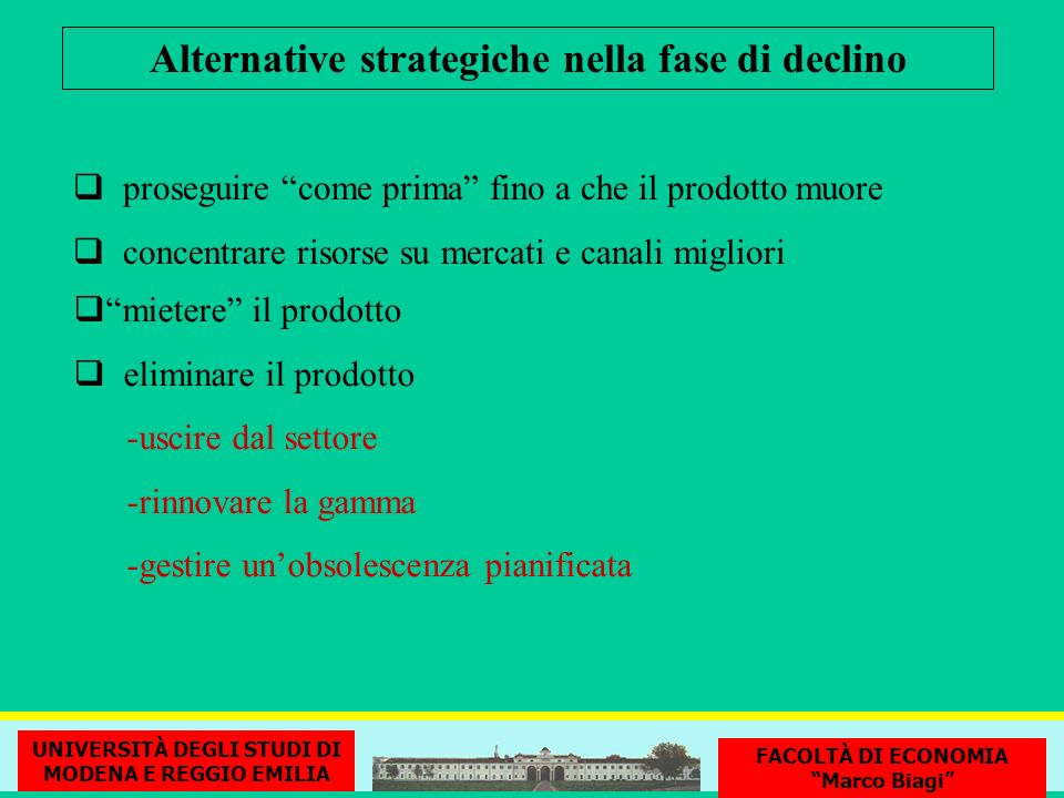 Alternative strategiche nella fase di declino