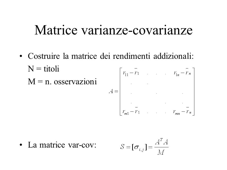 Matrice varianze-covarianze