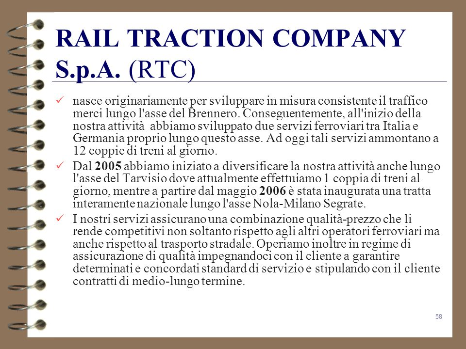 RAIL TRACTION COMPANY S.p.A. (RTC)