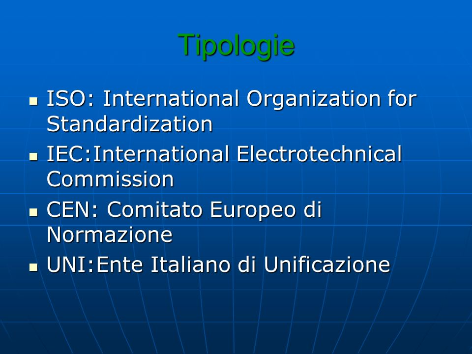 Tipologie ISO: International Organization for Standardization