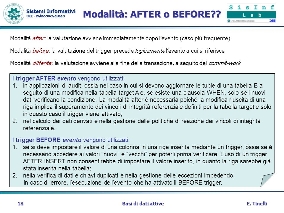 Modalità: AFTER o BEFORE