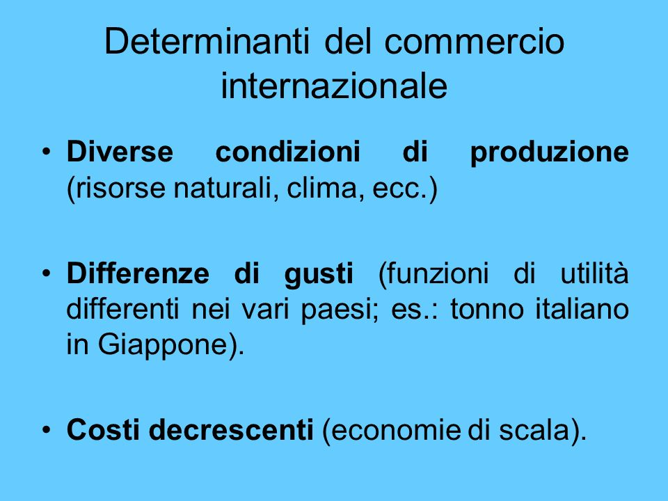 Determinanti del commercio internazionale