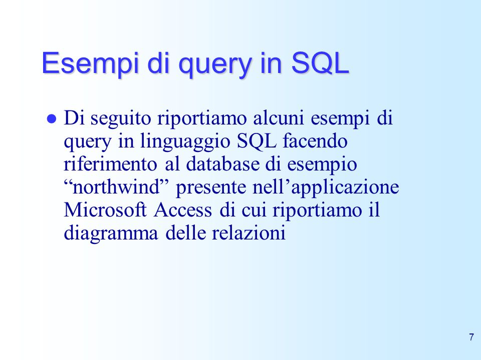 Esempi di query in SQL