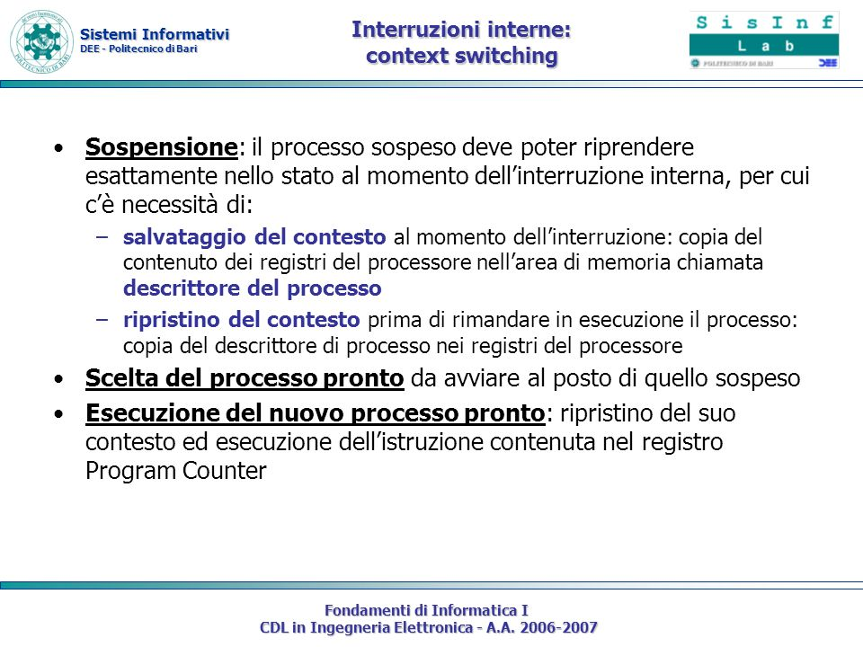 Interruzioni interne: context switching
