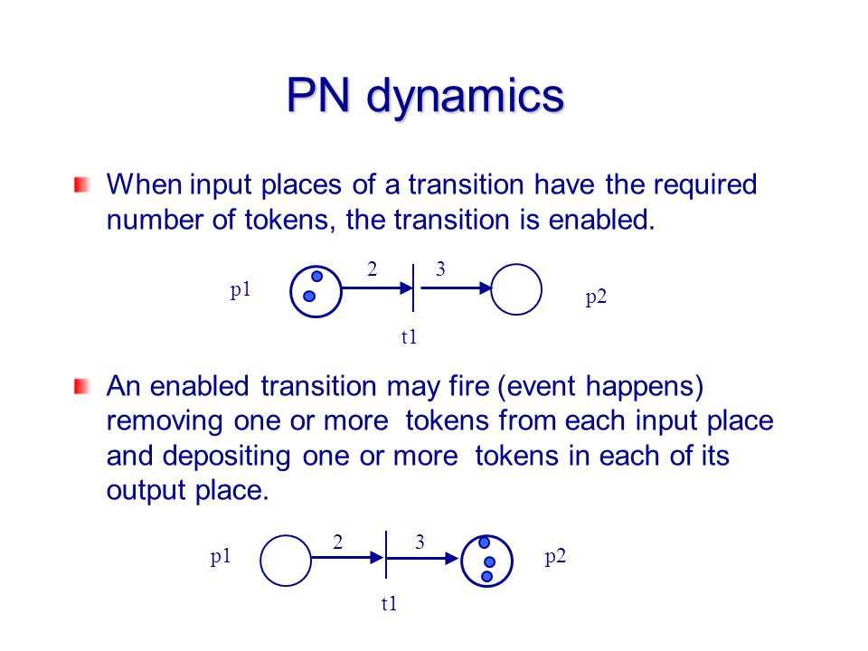 PN dynamics When input places of a transition have the required number of tokens, the transition is enabled.