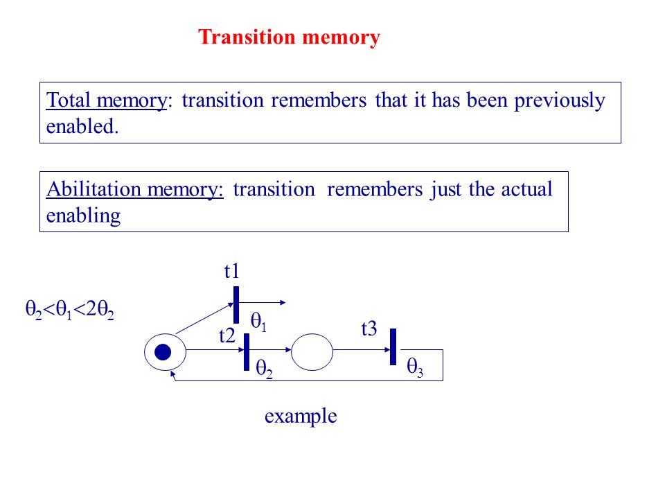 Transition memory Total memory: transition remembers that it has been previously enabled.