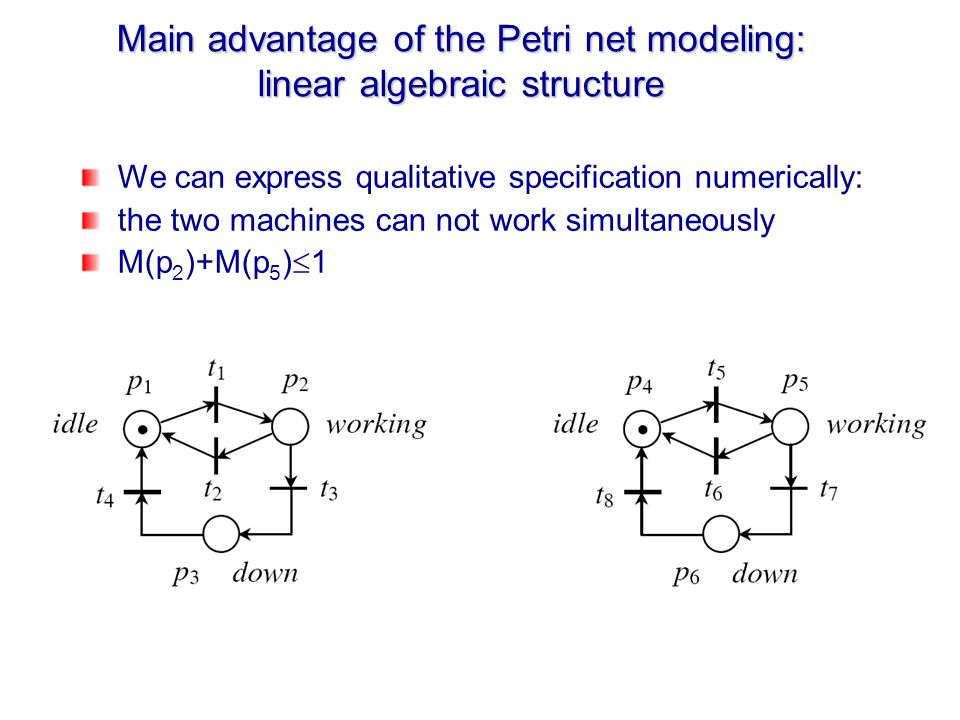 Main advantage of the Petri net modeling: linear algebraic structure