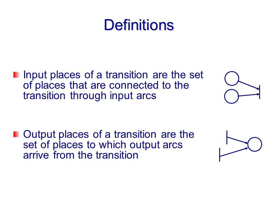 Definitions Input places of a transition are the set of places that are connected to the transition through input arcs.
