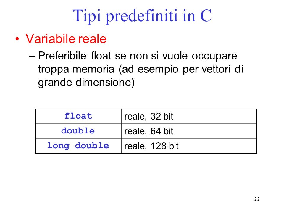 Tipi predefiniti in C Variabile reale
