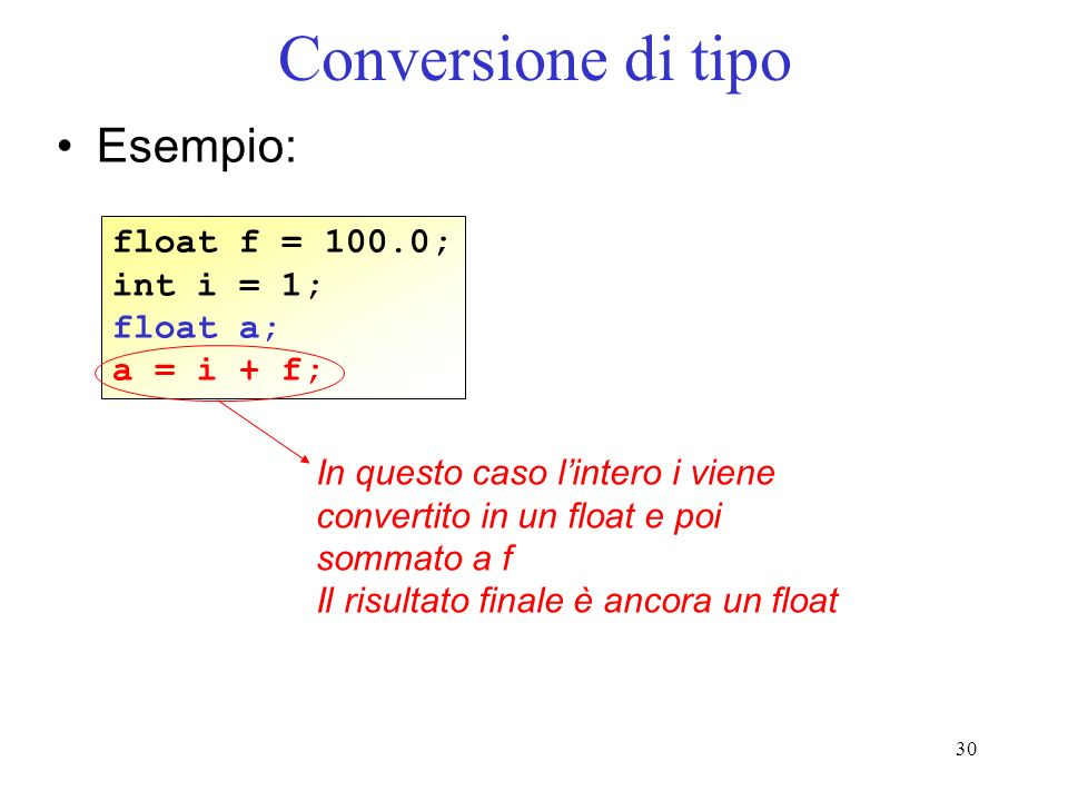 Conversione di tipo Esempio: float f = 100.0; int i = 1; float a;