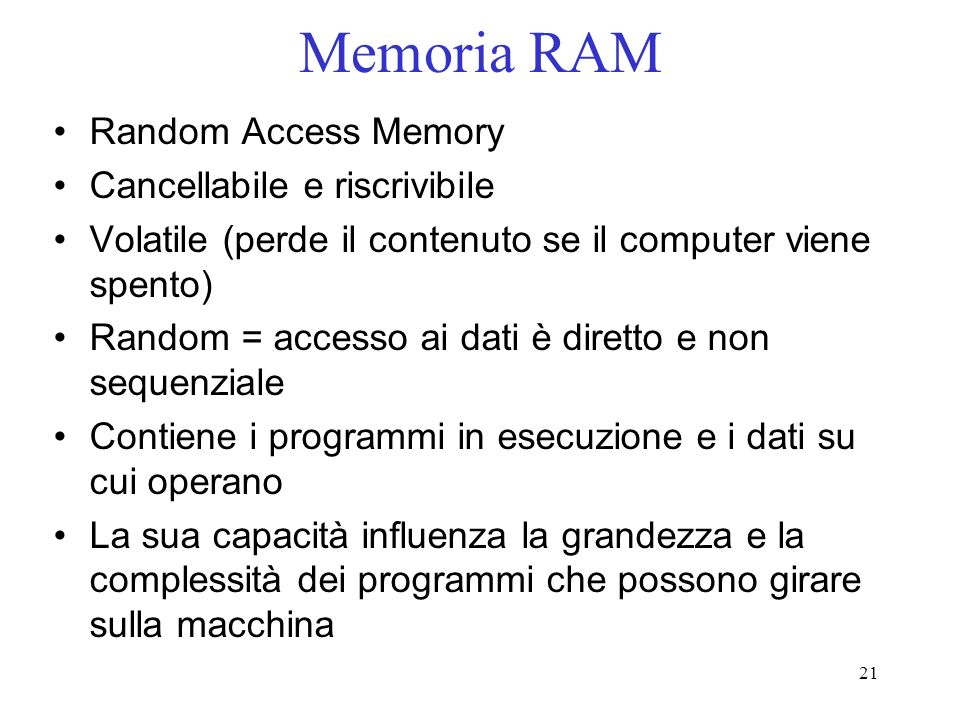 Memoria RAM Random Access Memory Cancellabile e riscrivibile