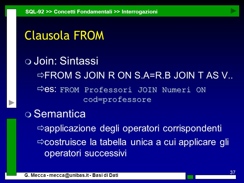 Clausola FROM Join: Sintassi Semantica