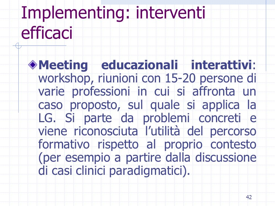 Implementing: interventi efficaci